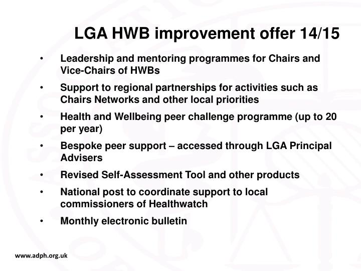 LGA HWB improvement offer 14/15