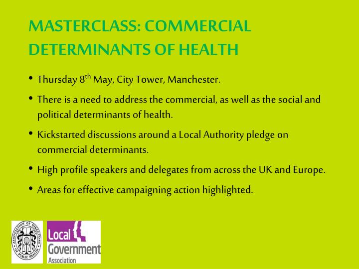 MASTERCLASS: COMMERCIAL DETERMINANTS OF HEALTH