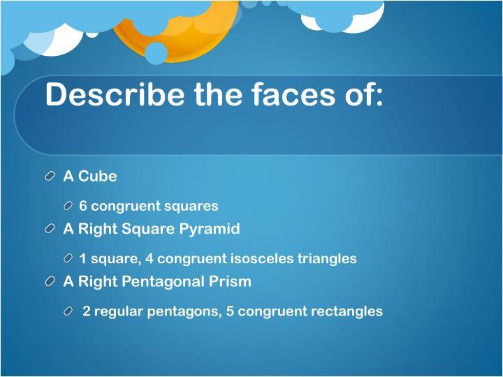 Describe the faces of: