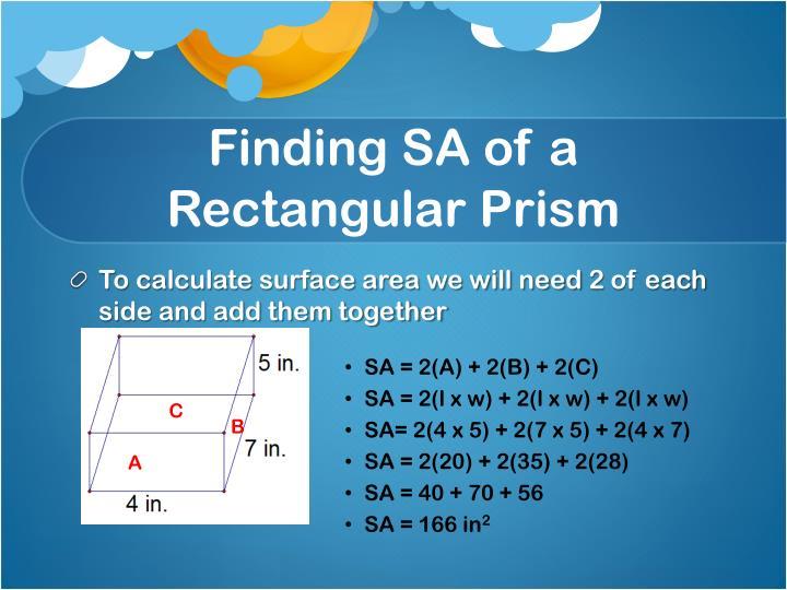 Finding SA of a Rectangular Prism