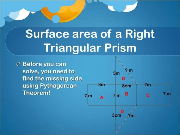 Surface area of a Right Triangular Prism
