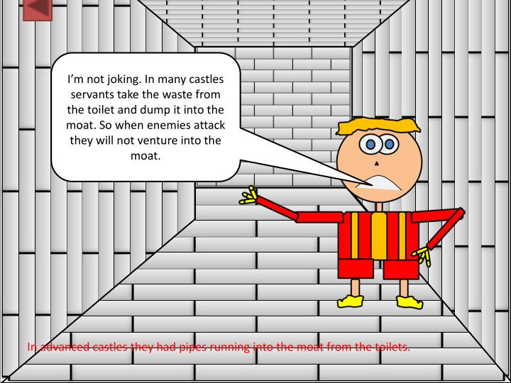 I'm not joking. In many castles servants take the waste from the toilet and dump it into the moat. So when enemies attack they will not venture into the moat.