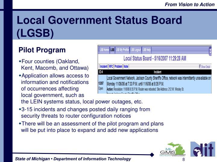Local Government Status Board (LGSB)