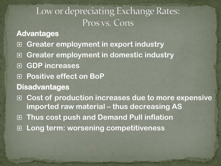 Low or depreciating Exchange Rates:
