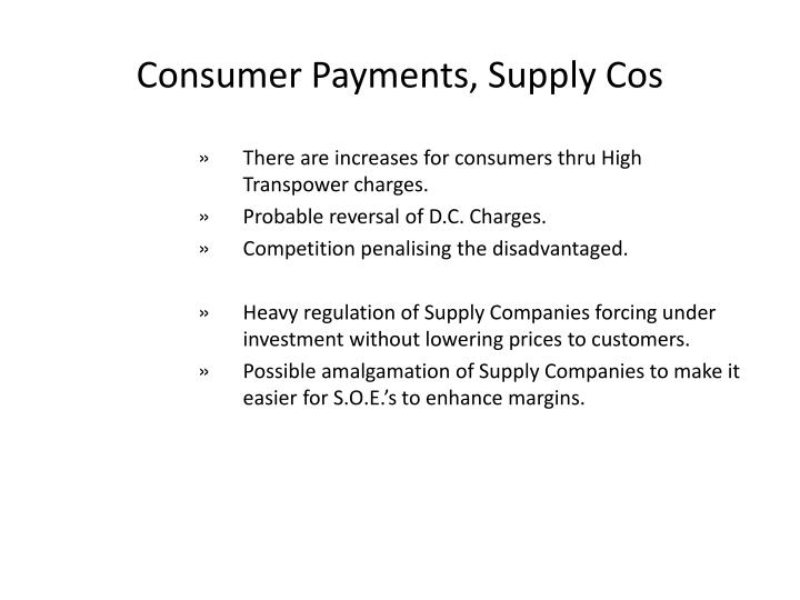 Consumer Payments, Supply Cos