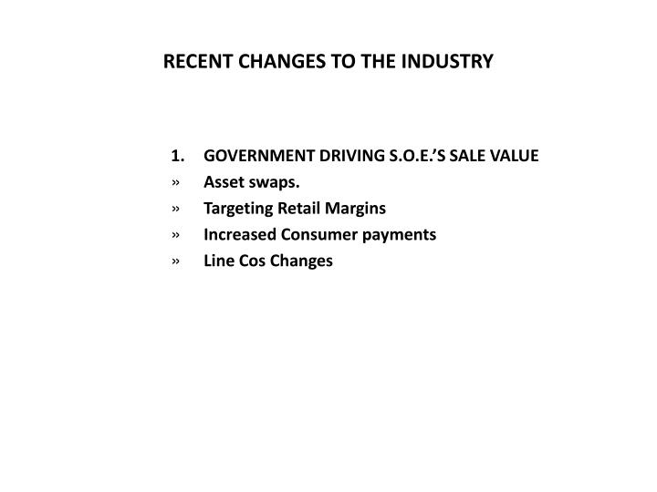 RECENT CHANGES TO THE INDUSTRY