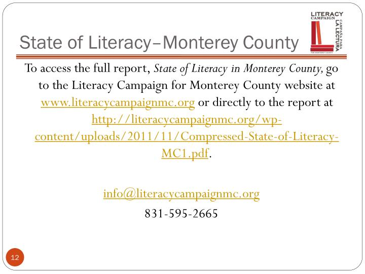 State of Literacy–Monterey County