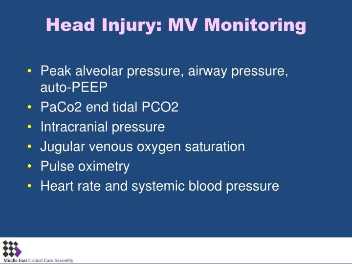 Head Injury: MV Monitoring