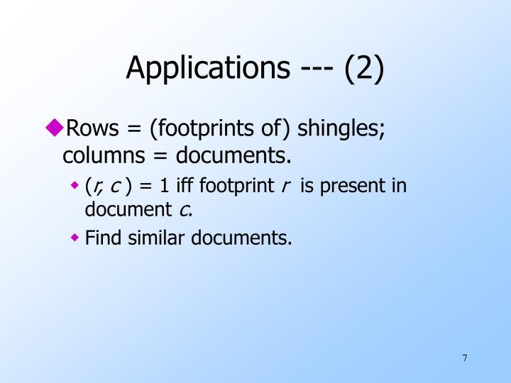 Applications --- (2)
