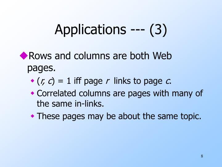 Applications --- (3)