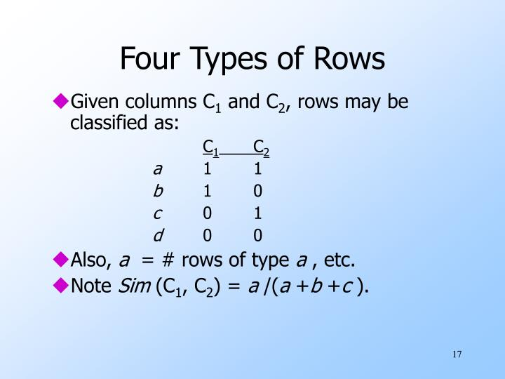 Four Types of Rows