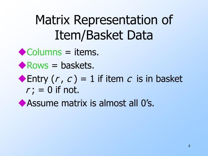 Matrix Representation of Item/Basket Data
