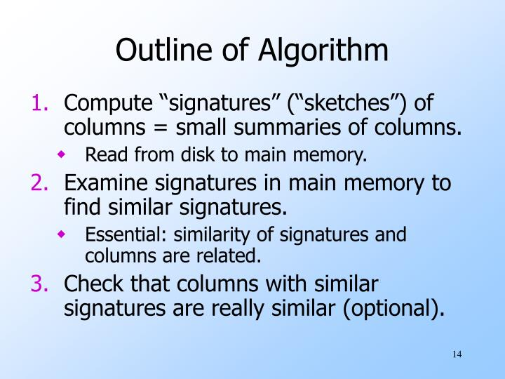 Outline of Algorithm