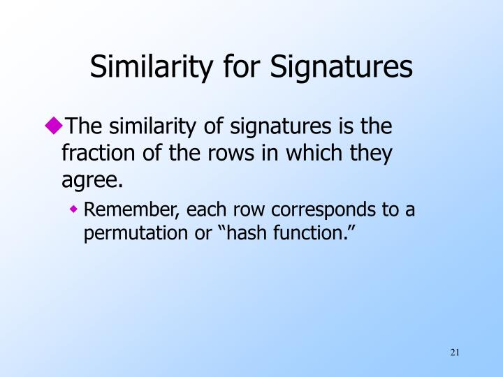 Similarity for Signatures