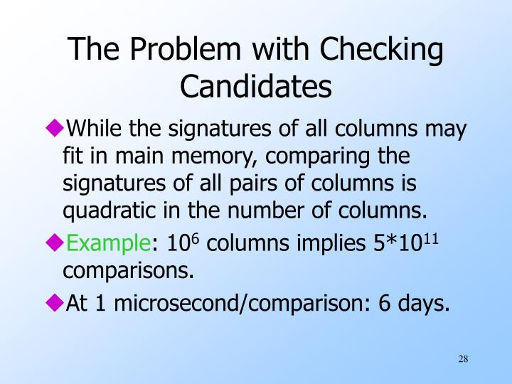 The Problem with Checking Candidates