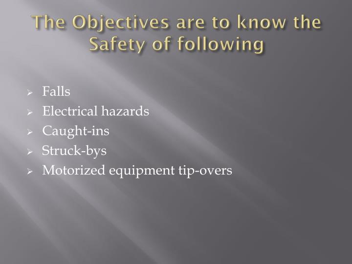 The objectives are to know the safety of following