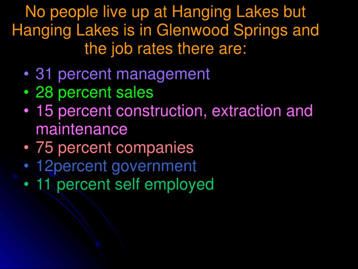 No people live up at Hanging Lakes but Hanging Lakes is in Glenwood Springs and the job rates there are: