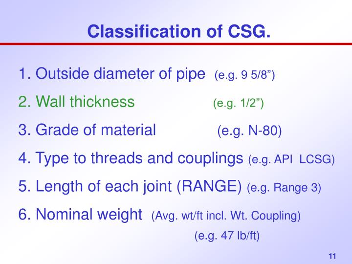 Classification of CSG.