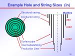 example hole and string sizes in2