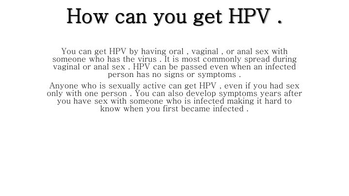 How can you get hpv