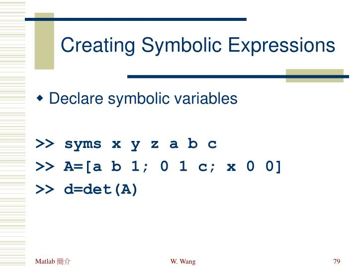 Creating Symbolic Expressions
