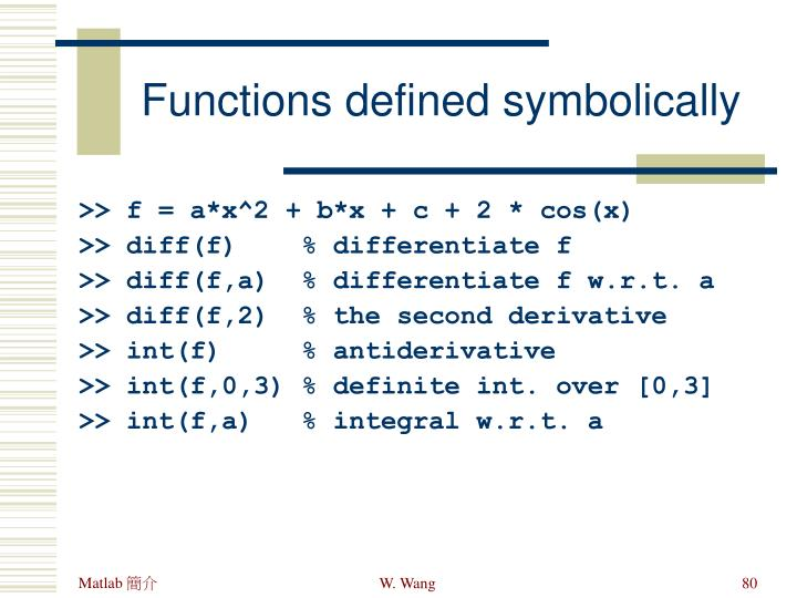 Functions defined symbolically