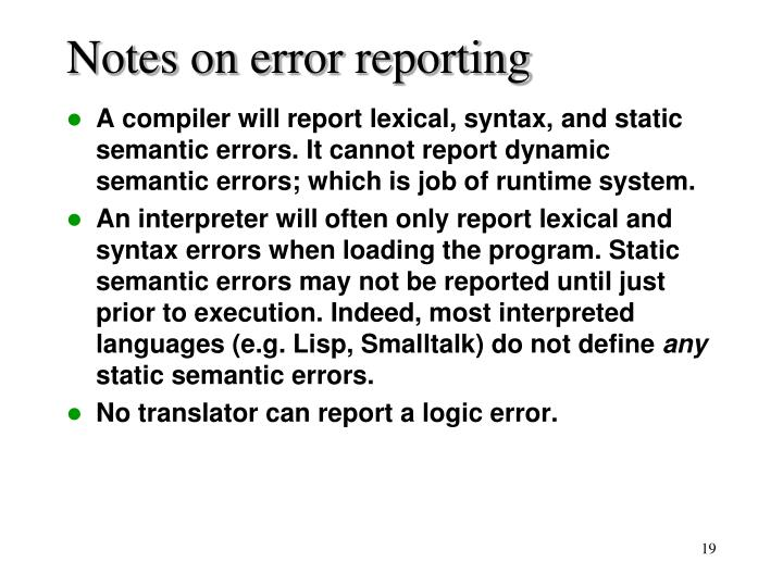 Notes on error reporting