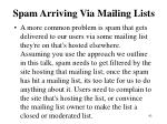spam arriving via mailing lists