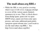 the mail abuse org rbl