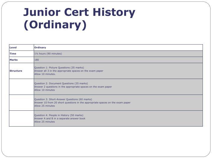 Junior Cert History (Ordinary
