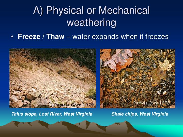 A) Physical or Mechanical weathering