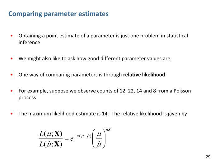 Comparing parameter estimates