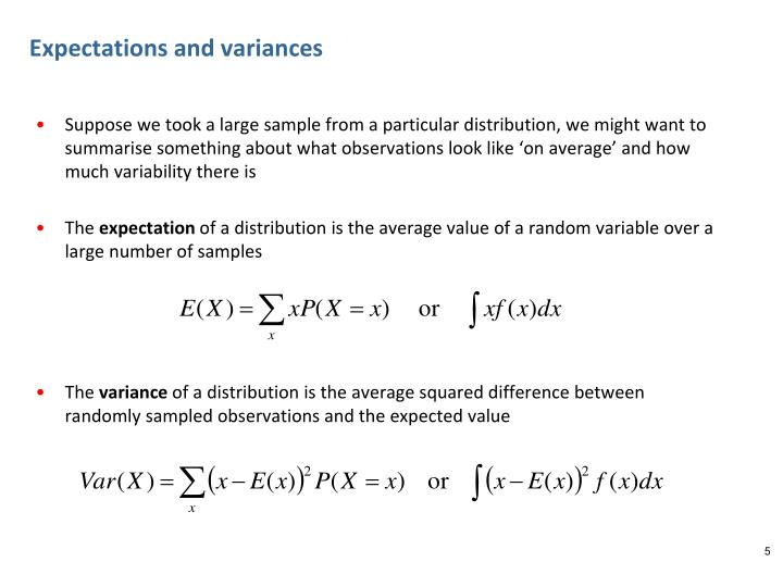 Expectations and variances