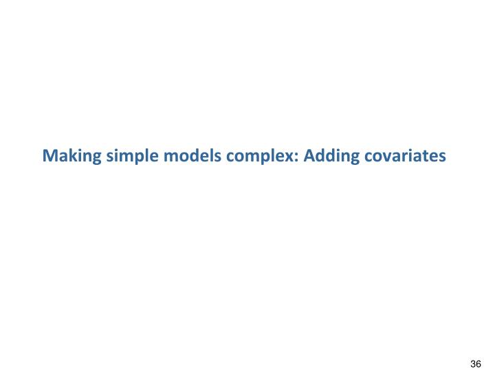 Making simple models complex: Adding covariates