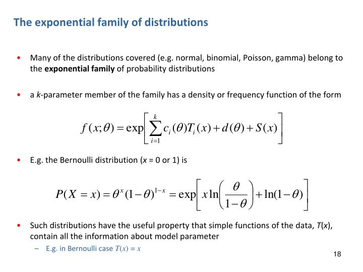 The exponential family of distributions