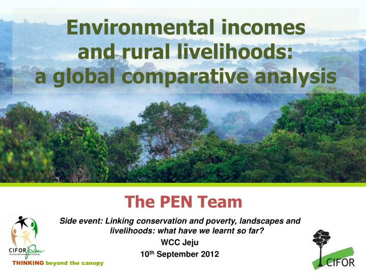 Environmental incomes and rural livelihoods a global comparative analysis