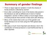 summary of gender findings