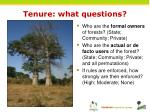 tenure what questions