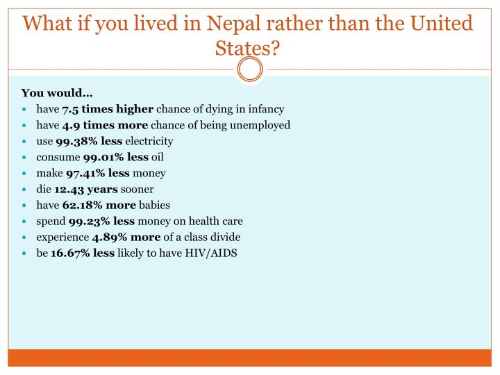 What if you lived in Nepal rather than the United States?