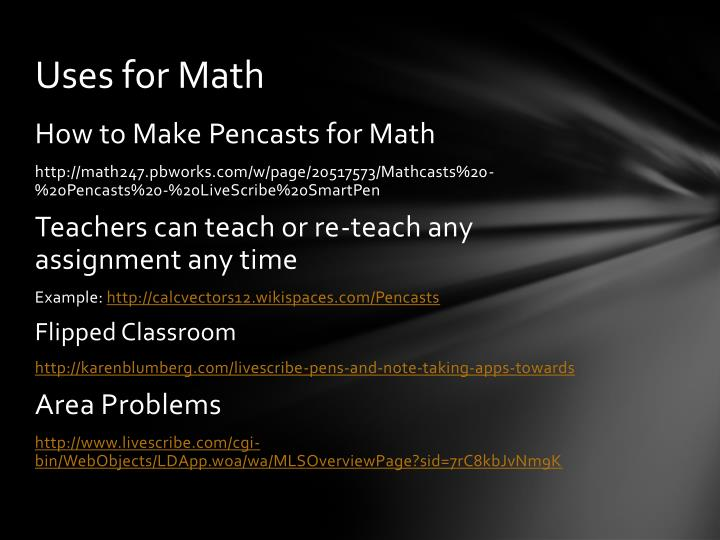 Uses for Math