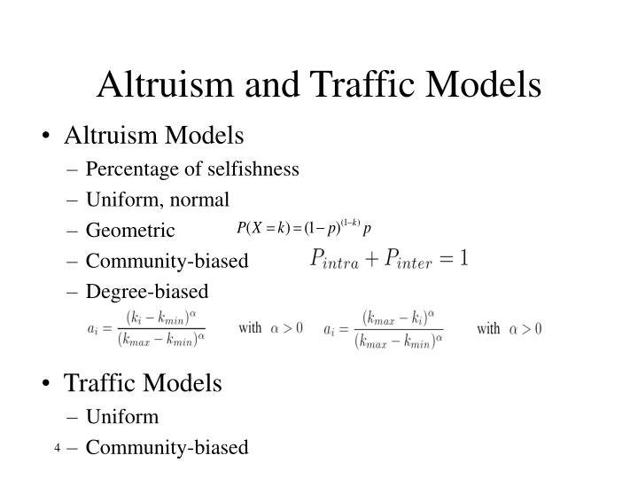 Altruism and Traffic Models
