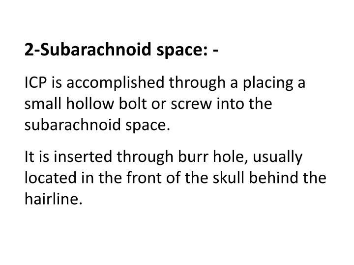2-Subarachnoid space: -