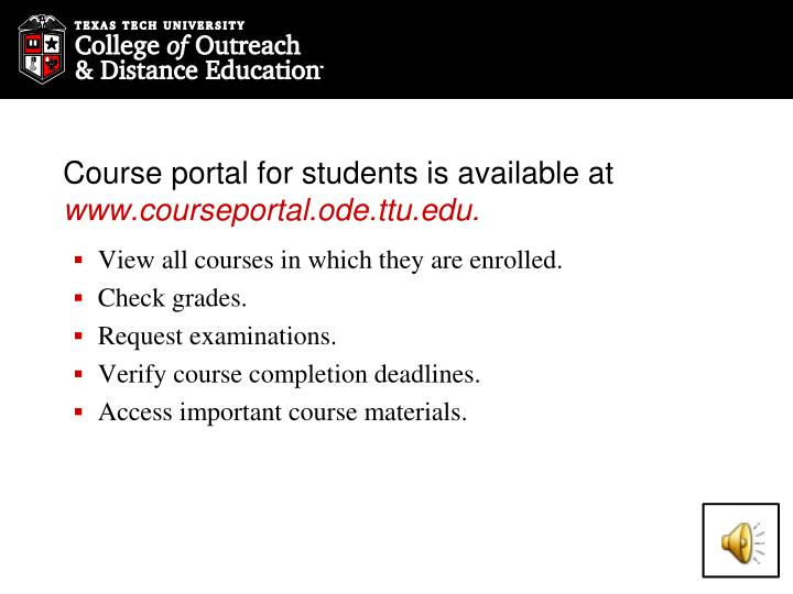 Course portal for students is available at