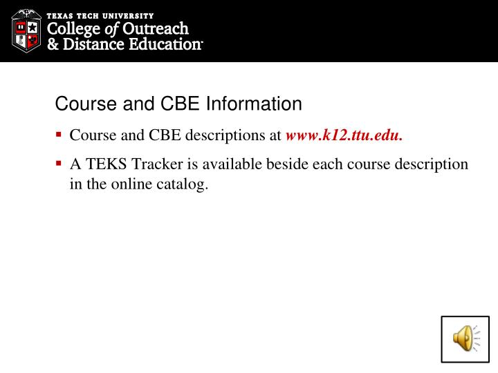 Course and CBE Information