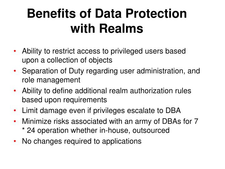 Benefits of Data Protection with Realms