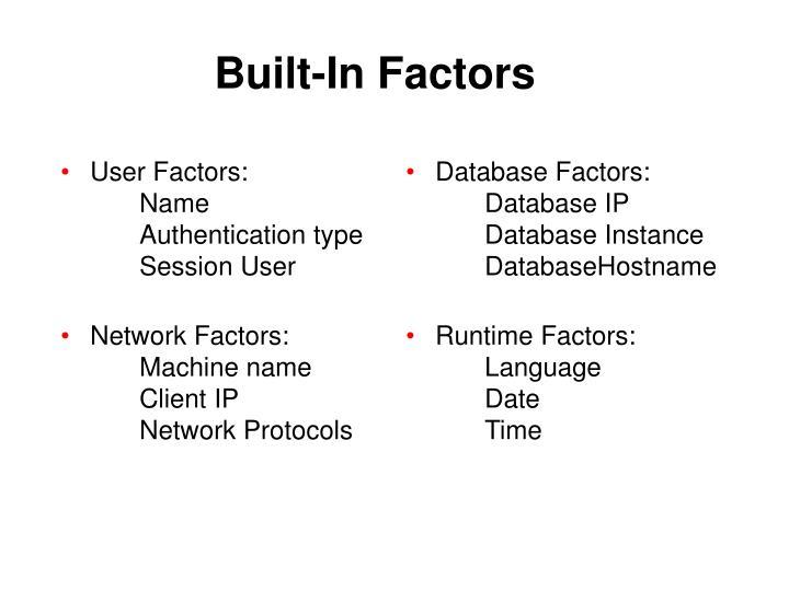User Factors: