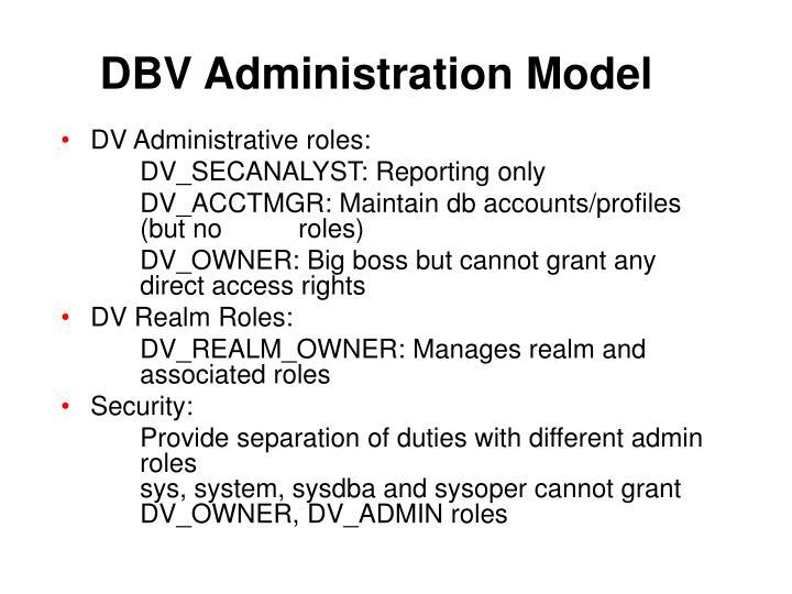 DBV Administration Model