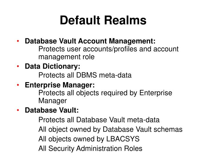 Default Realms