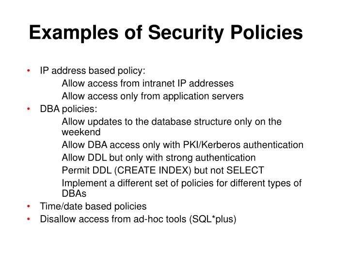 Examples of Security Policies