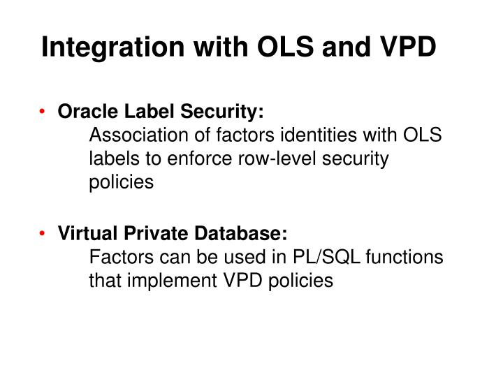 Integration with OLS and VPD